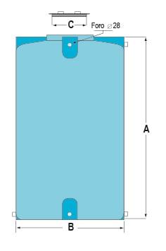 Zeichnung eines vertikalen Lagertanks