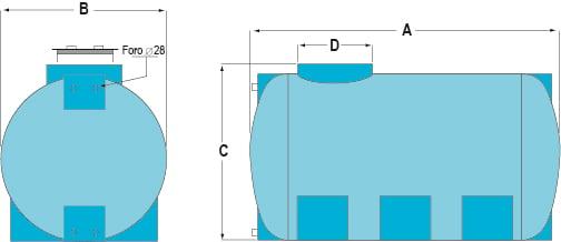 Zeichnung eines horizontalen Lagertanks